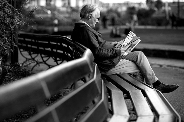 ©Neil Turner, September 2013. The vesry first frame I shot during the Bournemouth Arts By The Sea Festival 2013 - a man reading the programme a few minutes before it all started.