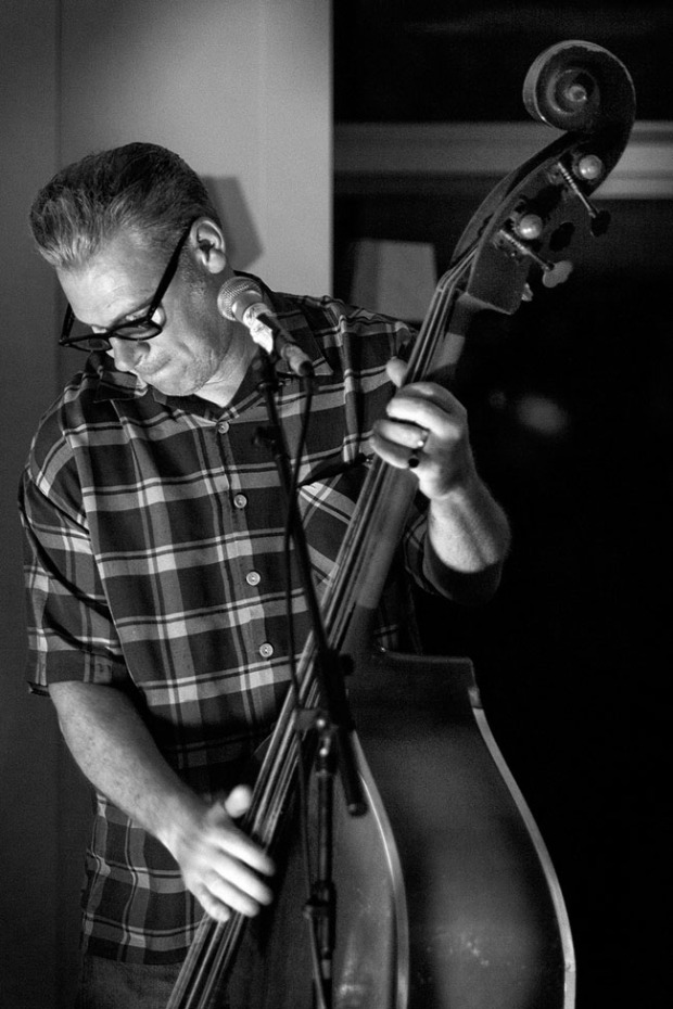 ©Neil Turner, October 2013. Mark Kermode playing bass with The Dodge Brothers at the Bournemouth Arts By The Sea Festival