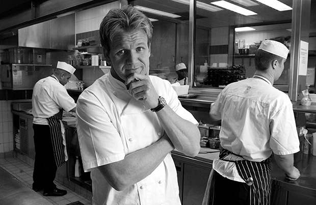 ©Neil Turner/TSL February 2003. Gordon Ramsay photographed in his kitchen