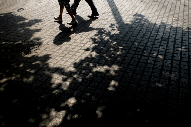 © Neil Turner, July 2014. Shadows on the south bank of the River Thames in London.