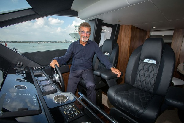 Former F1 boss Eddie Jordan on the bridge of a £3.8 million Sunseeker. ©Neil Turner, September 2014.