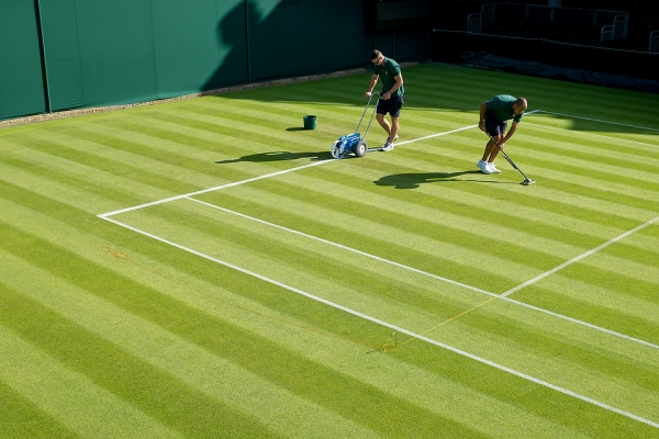 Early morning on Court 18. The Championships 2015 at The All England Lawn Tennis Club. 27 June 2015. Neil Turner