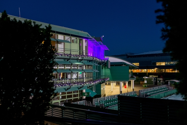 Court 18 and No1 Court at night. The Championships 2015 at The All England Lawn Tennis Club. 29 June 2015. Neil Turner