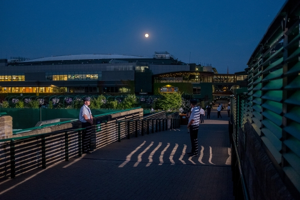 View of back of Centre Court across Court 19. The Championships 2015 at The All England Lawn Tennis Club. 01 July 2015. Neil Turner