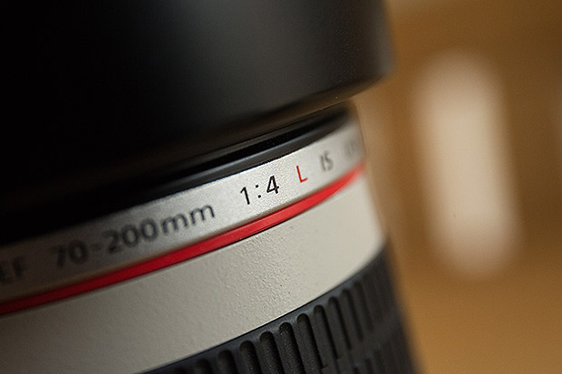 06 August 2015. Bournemouth, Dorset. Close up of part of a Canon 70-200 F4L IS lens. Hillcrest Road