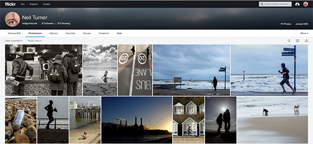 Screen grab of my new Flickr account