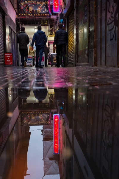 31 January 2016. London, Greater London. London on a cold and wet January Sunday afternoon.. Soho Neil Turner