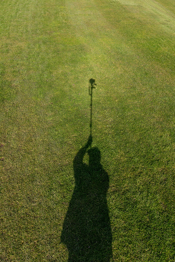 My shadow using a monopod to get a high angle picture. March 2016 ©Neil Turner