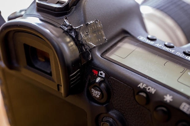 Taped diopter adjustment on a Canon EOS 5d MkIII