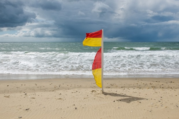 On the beach at Fisherman's Walk just before a rain storm.© Photo Neil Turner