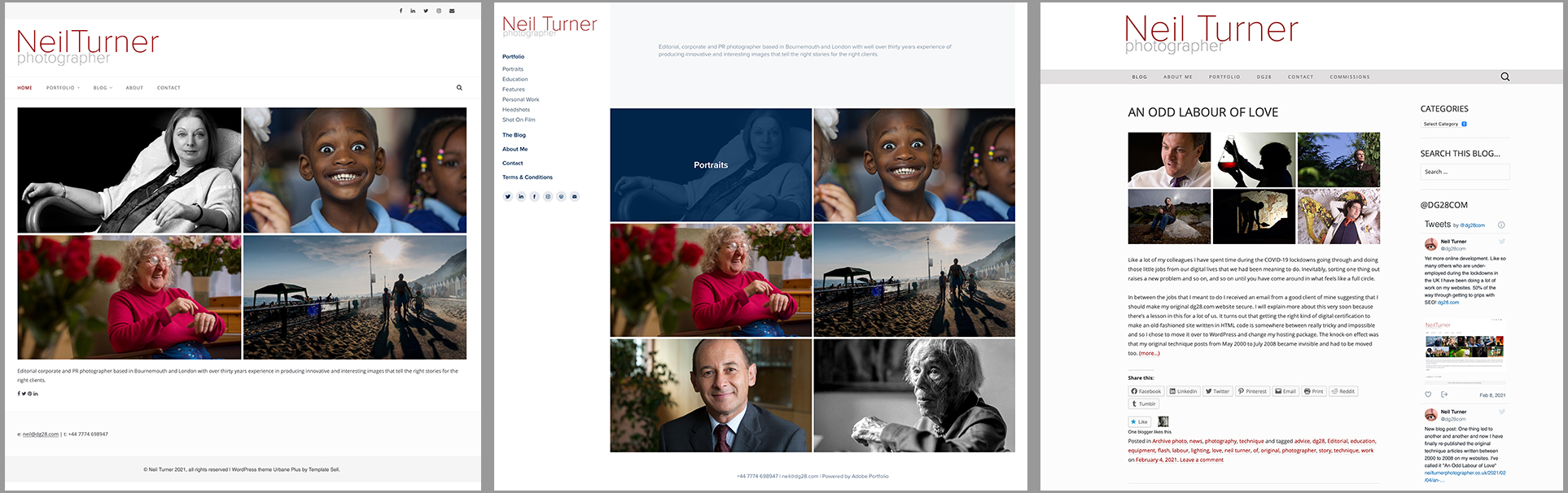 the three websites of Neil Turner Editorial and Corporate Photographer